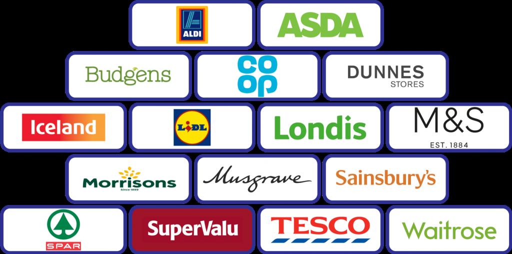 Retailers Building Block Logos: Aldi; Asda; Budgens; Coop; Dunnes; Iceland; Lidl; Londis; M&S; Morrisons; Musgrave; Sainsbury's; Spar; Supervalu; Tesco; Waitrose